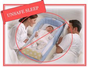 """Dziecko śpiące w dziwnym pojemniku, po obu stronach obserwują rodzice. Rysunek przekreślony, z napisem po angielsku """"Niebezpieczny sen""""."""